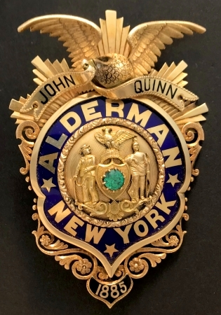 18k gold 1885 John Quinn Alderman badge.