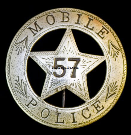Early Mobile, Alabama Police badge #57.