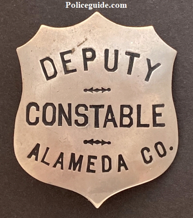 Deputy Constable Alameda County badge hallmarked Ed Jones 906 Broadway Oakland.