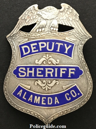 Alameda Co. Deputy Sheriff, sterling silver, reverse hard fired blue enamel.