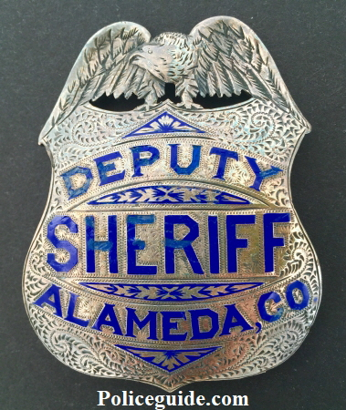 Alameda Co. Deputy Sheriff, sterling silver, hand engraved. Noted Alameda County historian and collector James Bolander told me that this badge is one of four ordered from Oakland Jeweler and watchmaker George Fake in the late 1890's.  Hallmarked Geo. Fake Sterling.