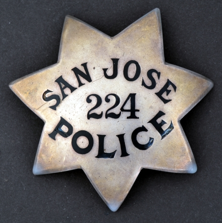 San Jose Police badge #224 made of sterling silver.