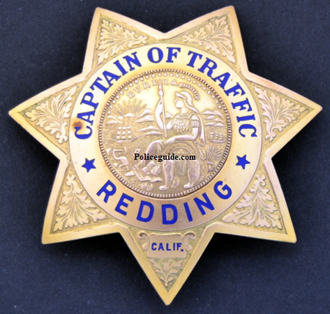 Captain of Traffic badge for the Redding Police dept.  Badge is Gold Front.
