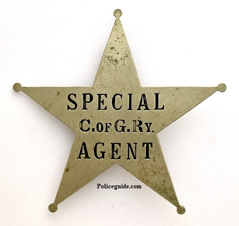 Central of Georgia Railway, Special Agent 1st issue badge made by American Railway Supply Co. New York.