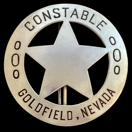Constable Goldfield badge worn by Claud C. Inman who was also the Chief of the Goldfield Fire Department.