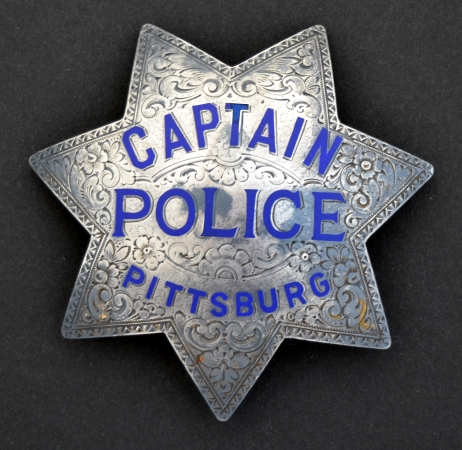 Pittsburg Captain of Police badge.  Circa 1935, sterling silver.