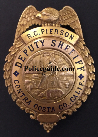 Contra Costa Co. deputy sheriff  badge for R. C. Pierson.  Gold Front.