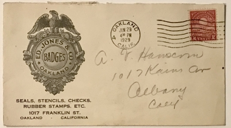 Ed Jones & Co. business envelope.  Postmarked 1929.