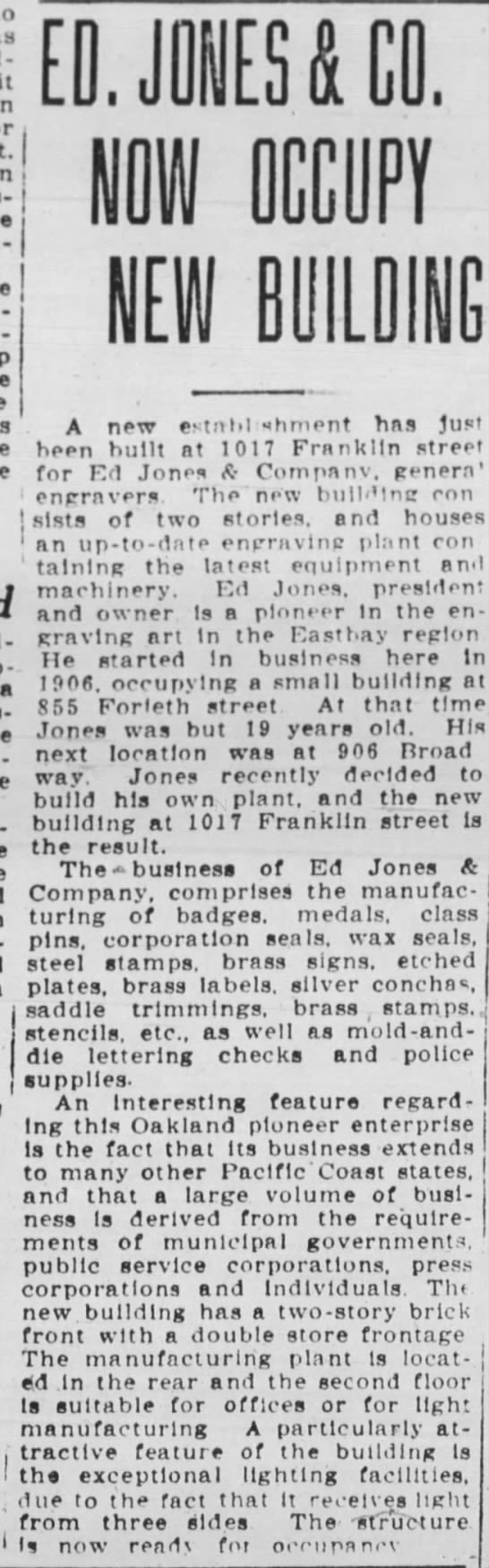 EdJonesNewBuilding OakTrib 08 March 1925