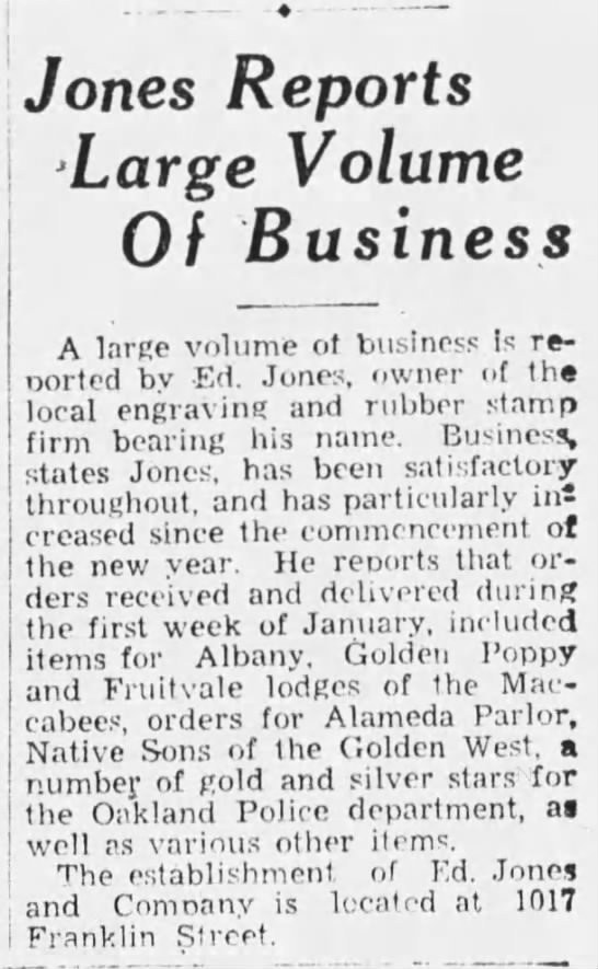 Jones Reports 15 Jan 1933 Oak Trib