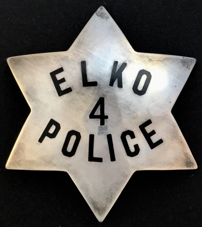Elko, NV police badge #4, made by Irvine & Jachens and stamped sterling and has the jewelry workers union No. 70 stamp.