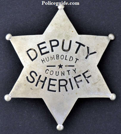Circa 1930 nickel silver Humboldt County deputy sheriff badge.