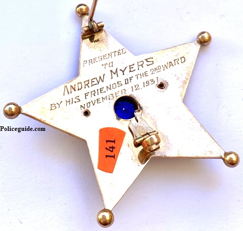 Presented to Andrew Myers By His Friends of the 2nd Ward November 12, 1931