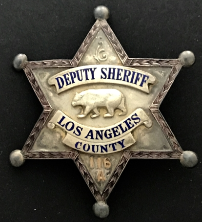 Los Angeles County Deputy Sheriff badge #116.� Sterling silver.