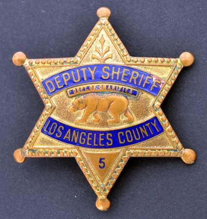 Deputy Sheriff� Los Angeles County Dept. of Charities badge #5.