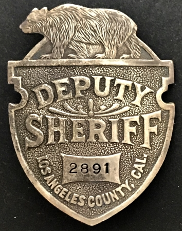 Los Angeles County Deputy Sheriff badge #2891.�
