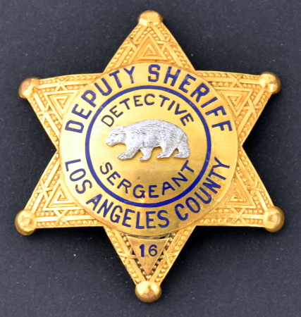 Los Angeles County Deputy Sheriff Detective Sergeant badge #16.