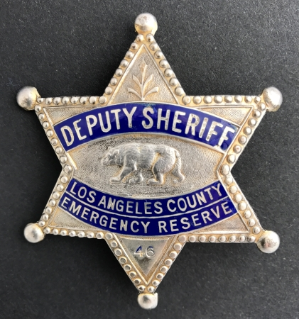 Los Angeles County Deputy Sheriff Emergency Reserve badge #46.