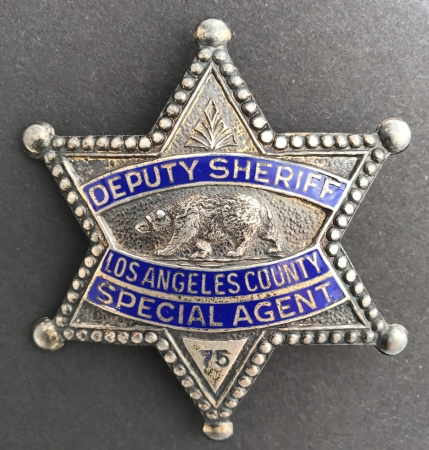 Los Angeles County Deputy Sheriff Special Agent badge #75.