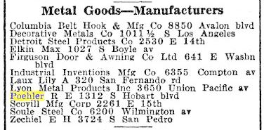 Los Angeles City Directory 1934 with listing for Poehler under Metal Goods--Manufacturers.