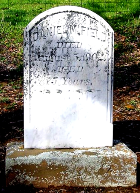 Danield M. Field died in Coulterville on August 5, 1902 at the age of 75.  His grave marker is shown .