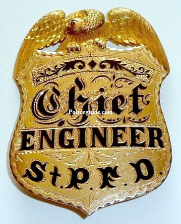 Gold fire badge, Chief Engineer St. P. F. D.