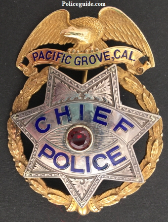 14k gold and sterling Pacific Grove, CA Chief of Police badge,