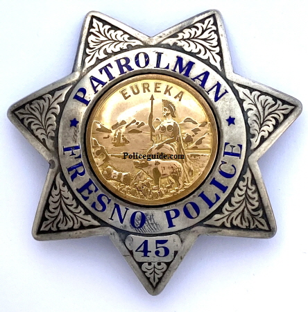 Fresno PD sterling badge No. 45 made by L.A.S. & S. Co. dated Jul 38.