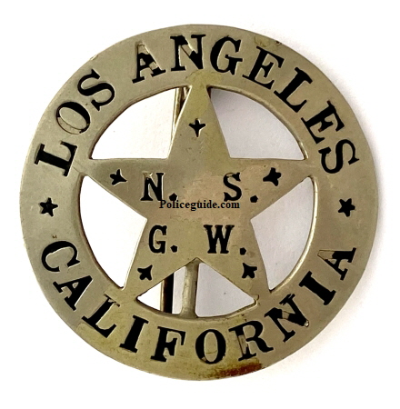 N. S. G. W. Los Angeles California badge, made by Los Angeles Rubber Stamp Co. Los Angeles.