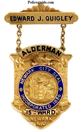 E. J. Quigley Newark Alderman badge 451