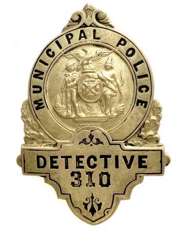 NYPD Municipal Detective badge.  This style was used from 1870-1872.