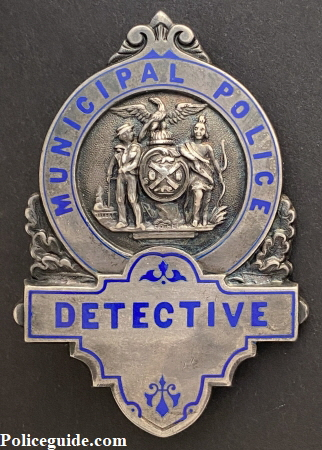 NYPD Municipal Detective badge made of sterling silver.