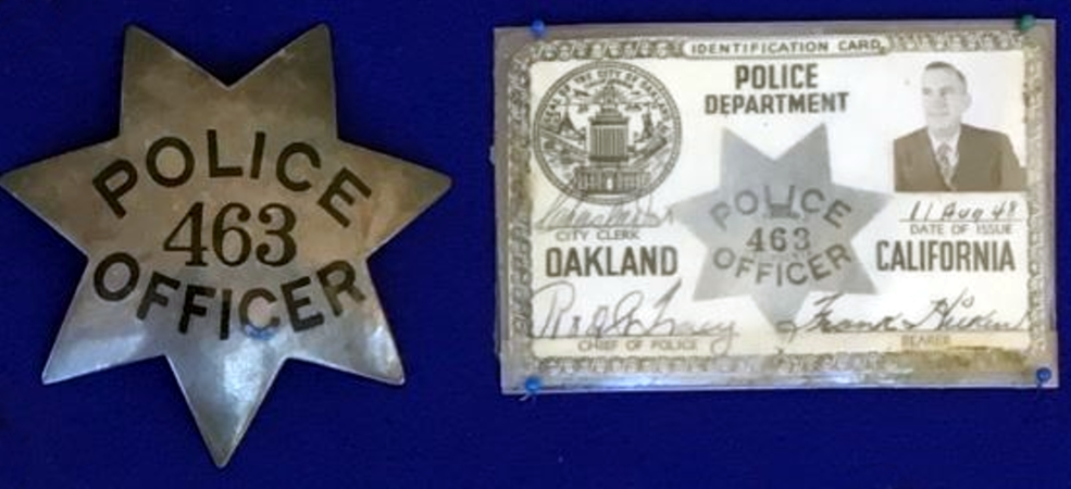 Frank Hilken Oakland Police badge #463 and ID.  Badge is sterling silver with hard fired black enamel.