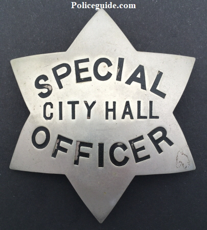 Oakland Police Special Officer City Hall, obverse is stamped Ger. Silver and hallmarked 906 Broadway, circa 1910.