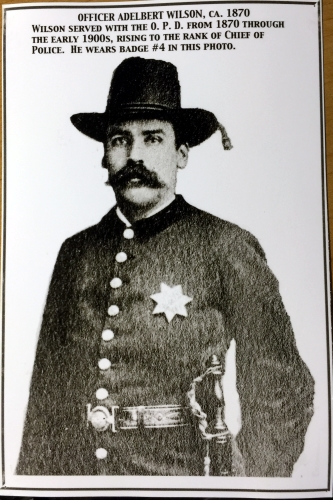 Officer Adelbert Wilson, circa 1870.  Wilson served with the O.P.D. from 1870 through the early 1900's, rising to the rank of Chief of Police.  He wears badge #4 in this photo.