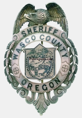 Jeweler made Sheriff of Wasco County Oregon badge, sterling silver, hand engraved with hard fired enamel.