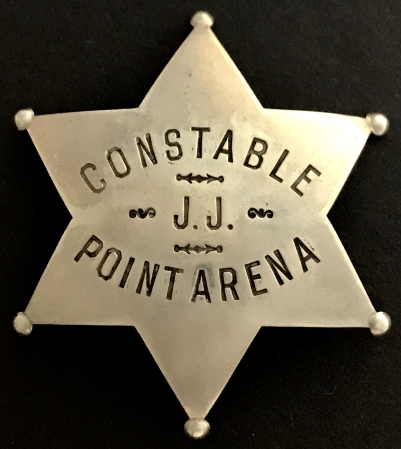 Constable Point Arena Mendocino County.  Personal badge of  James H. Jackway, circa 1924.  Made by Irvine & Jachens 1068 Mission St. S. F.