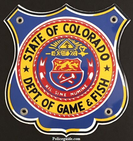 "State of Colorado Dept. of Game & Fish Porcelain sign.  7"" tall."