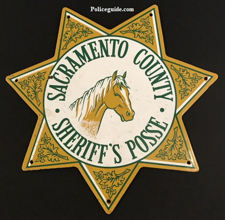"Sacramento County Sheriff's Posse Porcelain sign. 15"" tall."