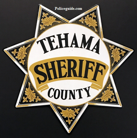 "Tehama County Sheriff  Porcelain sign, 15 1/4"" tall."