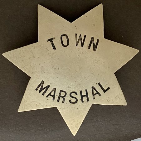 Town Marshal badge Redwood City.  Buried and discovered in 1949 during the construction of the Sequoia Hospital in Redwood City.