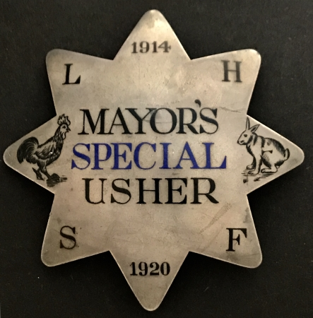 1914 -1920 Mayor's Special Usher police badge.