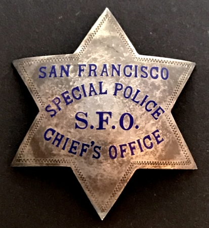 S.F.P.D. Special Police Chief�s Office badge issued to Onnias C. Skinner Jr., State Police Weights and Measures S.F - O. Bay Bridge.  He was a mechanic.  Badge is made by Irvine & Jachens S. F. and is marked Sterling.  His S.F. Police appointment paper is pictured below and is dated Nov. 18, 1940.