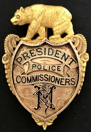 Major R. P. Hammond's 14k gold presentation badge, President Police Commissioners.  Initials in monogram N P H.