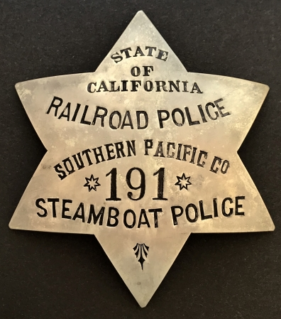 1st issue State of California Railroad Police Southern Pacific Co. Steamboat Police 191.  Circa 1906.