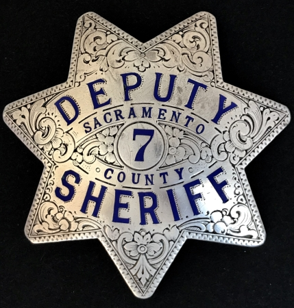 Sacramento Deputy Sheriff badge #7, sterling silver,