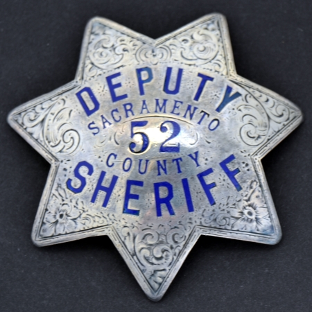 Sacramento Deputy Sheriff  badge #52, sterling silver,  hand engraved.