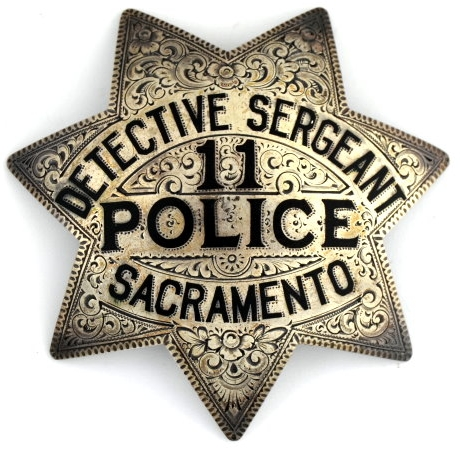 Engraved Sacramento Detective Sergeant #11 Police badge, sterling silver badge.� Circa 2-16-25.