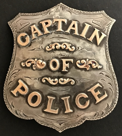 Sacramento P.D. Captain of Police badge made by J. N. Phillips Jeweler Sacramento.