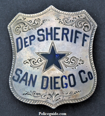 Circa 1890 sterling deputy sheriff badge made by Cummings SF.